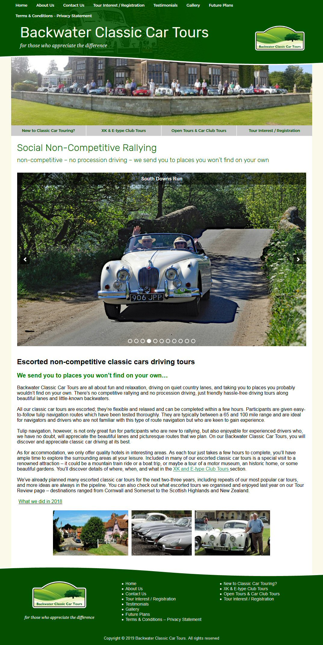 Backwater Classic Car Tours Website