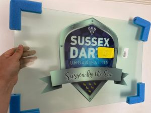 Sussex Darts logo for the stage setup